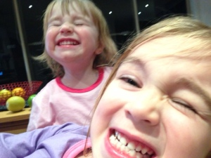 Two cheeky sisters (taken by Miss Three)